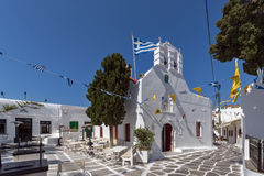 Street whit white houses in town of Mykonos, Greece Royalty Free Stock Image