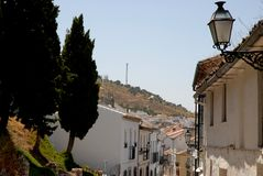 Street of white houses in Antequera in Spain Stock Photos