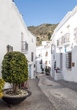 Street with white houses Stock Images