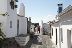 Street with white houses monsaraz. In alentejo portugal Royalty Free Stock Image