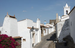 Street with white houses monsaraz Royalty Free Stock Photo