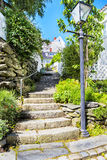 Street with white wooden houses in old centre of Stavanger. Norway. Royalty Free Stock Images