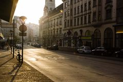 Street  Wien Mitte in Vienna, Austria. Sunrise Royalty Free Stock Photography