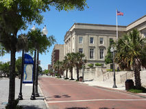 Street in Wilmington, North Carolina. Looking down the street, in the historic section of Wilmington, North Carolina (NC), passed the Courthouse stock image