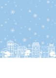 Street in winter Christmas illustration Stock Photos