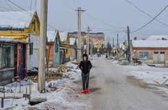 Street at winter in Harbin, China royalty free stock photography