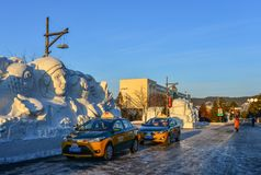 Street at winter in Harbin, China stock photography