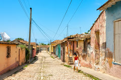 Street With Colored Buildings At Trinidad, Cuba Royalty Free Stock Images