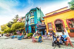 Free Street With Colorful Houses And Multicolor Cafe In Istanbul, Sultanahmet Stock Photos - 137106223