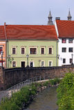 Street witl old buildings and little river Eger Stock Image