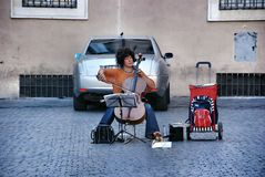 Street woman musician in Rome Stock Photography