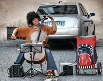 Street woman musician in Rome Stock Images