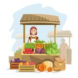 Street wooden counter with fresh organic vegetables and female seller. Delicious natural products at market and woman in white apron with friendly smile Stock Images