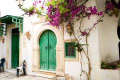 Street with wooden doors and bush with flowers in Mahdia. Stock Images