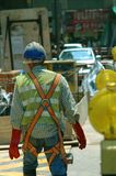 Street Worker. A worker doing road works in Central, Hong Kong royalty free stock images