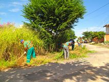 Street workers getting rid off heavy bushes in poorly kept neighborhood. Street workers cutting bushes in poorly kept areas Stock Photo