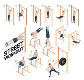 Street workout exercises. illustrations. Street workout exercises. Vector illustrations royalty free illustration