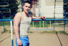 Street workout, happy sportsman Royalty Free Stock Photo