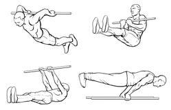 Street workout outline set. Set of street workout and calisthenic exercises on gym bar royalty free illustration