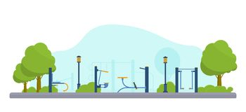 Street workout place or park. Fitness and gym street outdoor park. Sport playground. Flat vector illustration vector illustration