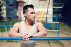 Street workout, portrait sportsman looking Stock Images