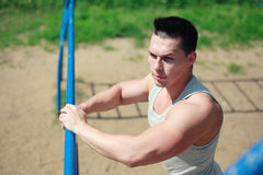 Street workout, sportsman looking Stock Photos