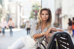 Street wtyle portrait of a beautiful young girl Stock Photos