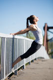 Street yoga: backbend royalty free stock photography