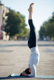 Street yoga: salamba sirsasana pose. Yoga in the city: beautiful young sporty woman working out on the road on summer day, doing supported headstand posture Stock Photography