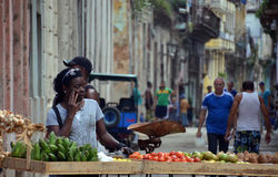 Streets of Havana - fruit vendor royalty free stock photography