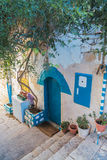 Street in Zefat (Safed) city, north Israel. Center of kabbalah and artists. Winter stock photography