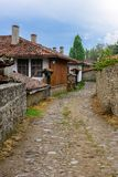 Street in Zheravna, Bulgaria. A street in Zheravna village & x28;Municipality of Kotel& x29; with old traditional houses, Bulgaria Stock Images