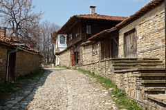 Street in Zheravna with wooden houses Stock Image