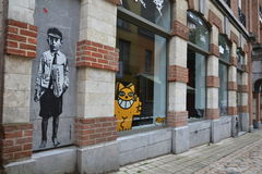 Streetart在布鲁塞尔,比利时 库存图片