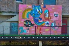 Streetart, birds and a funny cat Stock Photo