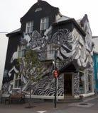 Streetart, Black and White. Street art in Reykjavik, a black and white scene Royalty Free Stock Photography