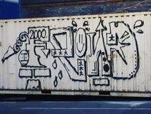 Streetart della via della città del contenitore dei graffiti degli amici Fotografia Stock