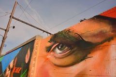 Streetart:  graffiti artist  CaZn To counter recurring graffiti vandalism, Belgian railway station Stock Images