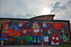 Streetart hermoso, diversas figuras en una pared Fotos de archivo