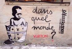 Streetart Parijs Stock Foto's
