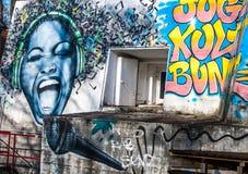 Streetart piosenkarz zdjęcie royalty free