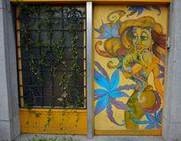 Streetart, walt disneycijfer Stock Foto's