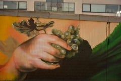 Streetart: wiederkehrender Graffitigegenvandalismus Graffitikünstler CaZn Tos, belgischer Bahnhof Lizenzfreie Stockfotografie