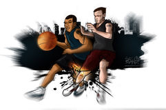 Streetball Basketball Knee Injury. Illustration of urban basketball player with a focus on knee injury Stock Photography