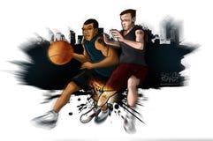 Streetball Basketball-Knie-Verletzung stockfotografie