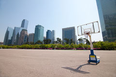 Streetball court in park area near office buildings in Seoul Royalty Free Stock Image