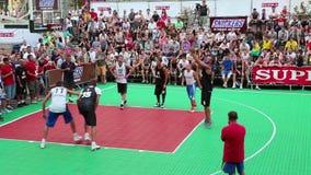 Streetball. KIEV, UKRAINE, AUGUST 24, 2012: Final Ukrainian streetball league on Khreschatyk street dedicated to celebrating Independence Day in Kiev, Ukraine stock footage