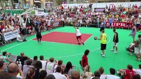 Streetball. KIEV, UKRAINE, AUGUST 24, 2012: Final Ukrainian streetball league on Khreschatyk street dedicated to celebrating Independence Day in Kiev, Ukraine stock video