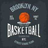 Streetball oder städtisches Sportteamlogo und -fahne Stockfotografie