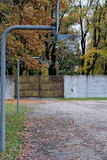 Streetball season finishes. Two streetball (Basketball) shields with net. Streetball season in autumn has come to end stock photography